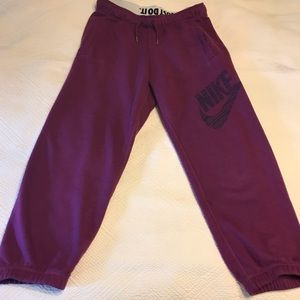 Nike Plum color sweatpants with Nike swoosh